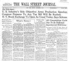 Pearl Harbor, WSJ front page, Dec. 8, 1941
