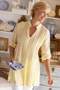 Accented with delicious summer colors, our Ibiza Gauze Tunic has a flattering neckline and roll-tab detail. Fashion Over 50, Look Fashion, Comfortable Outfits, Casual Outfits, Gauze Clothing, Modest Fashion, Fashion Outfits, Dress Fashion, Cotton Tunics