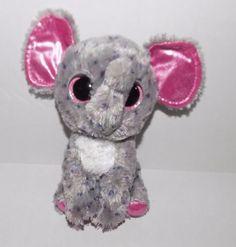 6-034-Ty-Beanie-Boos-BOO-Pink-Grey-SPECKS-Plush-Elephant-Sparkle-GLITTER-Eyes
