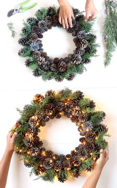 Easy & long lasting DIY pinecone wreath: beautiful as Thanksgiving & Christmas decorations & centerpieces. Great pine cone crafts for fall & winter! - A Piece of Rainbow # Easy DIY wreath Beautiful Fast & Easy DIY Pinecone Wreath ( Imp Pine Cone Art, Pine Cone Crafts, Pine Cones, Holiday Crafts, Christmas Diy, Christmas Ornaments, Pinecone Christmas Crafts, Pine Cone Wreath, Christmas Lights