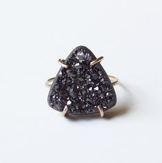Black Crystal Triangle Ring OOAK Gold Filled by #friedasophie