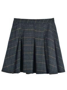 Blue-gray Plaid Mini Skater Skirt