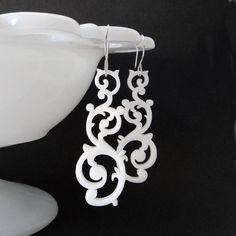 Swirl Earrings in white by Isette on Etsy https://www.etsy.com/listing/51858773/swirl-earrings-in-white