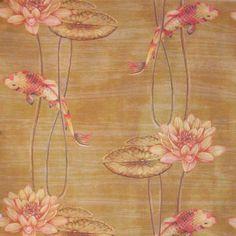 Water Garden Golden. Available printed on linen, cotton, cotton linen blends. © Ellen Eden