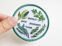 Herb Garden Sew On Patch - - Machine Embroidery - Scarborough Fair Etsy Embroidery, Machine Embroidery, Sew On Patches, Iron On Patches, Scarborough Fair, Needle And Thread, Herb Garden, Giclee Print, Etsy Seller