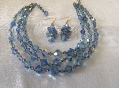 Vintage  Necklace & Dangle Earrings Set Blue Aurora Borealis Triple Strand VCG #Unbranded