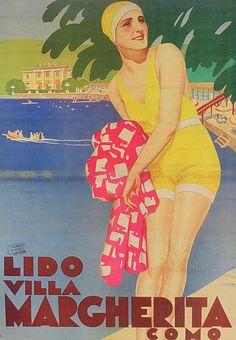 vintage poster lake como Lido Villa Margherita (Como) , art deco , beach www.varaldocosmetica.it (cosmetici all'olio extraverginbe di oliva della riviera)