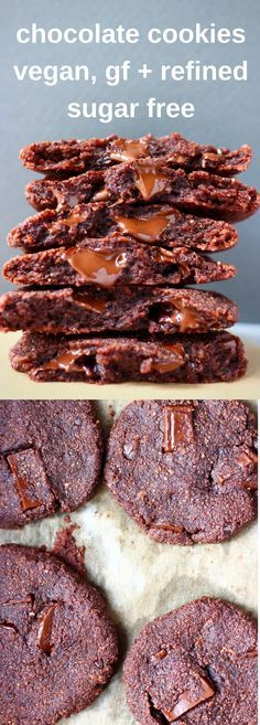 These Double Chocolate Chip Cookies are vegan, gluten-free, paleo, grain-free and refined super free optional. They require just 6 ingredients and are easy to make, chewy and fudgy, and seriously indulgent yet secretly healthy! #chocolate #cookie #paleo #dessert #vegan #glutenfree #grainfree #dairyfree #refinedsugarfree