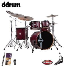 ddrum Reflex RSL Wine Red Satin (REFLEX-RSL-5-PC-WRS) 5-Piece Shell Pack - Includes: Gibraltar Bass Drum Pedal, Evans Drum Set Survival Guide, LP Rumba Shaker & GoDpsMusic Drumsticks : Drum Kits #drummers #ddrum #drums #music