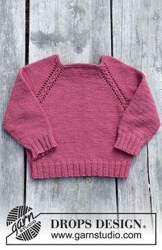 Cherry cuddler / DROPS children - free knitting patterns by DROPS design Free knitting instructions Baby Knitting Patterns, Knitting Baby Girl, Baby Patterns, Crochet Patterns, How To Start Knitting, Knitting For Kids, Free Knitting, Crochet Pullover Pattern, Crochet Baby Cardigan