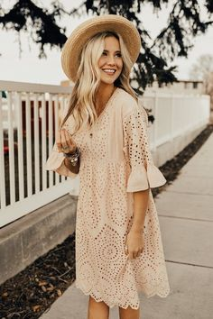 Falling For You Eyelet Dress in Blush, Spring Outfits, Blush Dress Eyelet Floral Embroidery Curved V-Neck Bell Sleeves Empire Gathered Waist Scalloped Detail Hem Fully Lined ROOLEE Brand. Blush Dresses, Modest Dresses, Summer Dresses, Fall Dresses, Blush Dress With Sleeves, Spring Dresses With Sleeves, Tunic Dresses, Teen Dresses, Chiffon Dresses
