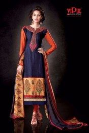 Navy Color Printed Unstitched Crepe Fabric Salwar Suit