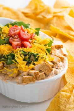 Get ready for the big game day with this Vegan Taco Dip with Chipotle Tofu. Get ready to dig in to this creamy, spicy, mexican dip that will keep you and your party friends coming back for one bite after another! Bring on the Super Bowl appetizers!