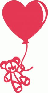Silhouette Online Store - View Design #54249: teddy bear heart balloon