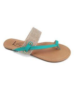 Look at this #zulilyfind! Teal Asymmetrical Thong Sandal #zulilyfinds