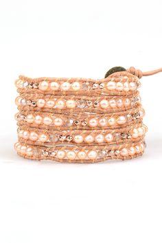 Rose Gold Pearl Mix Wrap Bracelet on Natural Brown Leather | Talulah Lee
