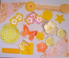Sunny colors yellow orange Summer Flowers Embellishments by Wcards, $4.00
