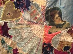 I ❤ crazy quilting & embroidery . . . Elizabeth Parkhurst Williams Crazy Quilt (1884-90) Victorian Lady- A very rare BEAUTY. I love the overall pastel impression & softness of most tones. Although there are many vibrant jewel tones as well. All the loving artistic needlework embroidery of Mary Beatrice. Special dates, initials, musical notes on a scale, blessings symbols, cupid's hearts, roses, tulips, sunbursts, ferns & so many other interesting floral & geometric stitches.