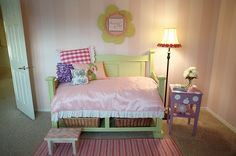 Cute DIY toddler bed - made from old headboard/footboard.