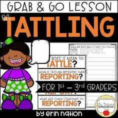 For those times you're overwhelmed with the tattling in your classroom -- a lesson on when to report instead of tattle Elementary Counseling, School Counselor, Social Skills Activities, Learning Resources, Guidance Lessons, Social Stories, School Psychology, Conflict Resolution, Classroom Management