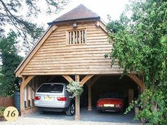 All our oak framed garages are bespoke; we do not impose any standard building sizes or styles:… Above Garage Apartment, Barn Apartment, Garage Apartments, Garage Extension, House Extension Plans, Oak Framed Buildings, Timber Buildings, Timber Garage, Wooden Garages