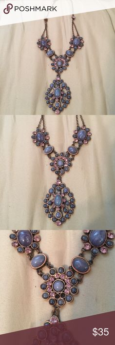 Gorgeous purple and pink necklace Gorgeous purple and pink tone necklace. 2 studs missing as shown in picture above Jewelry Necklaces
