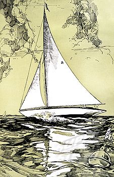 sailing boat illustration - 1929 << repinned by BoatsforsaleUK, follow us on Twitter @Totes Boats for Sale UK for news & updates