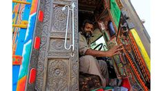Colorful trucks in Pakistan Truck Art Pakistan, Screen Icon, Arte Popular, Centaur, More Pictures, Red And White, Backdrops, Trucks, Image