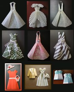 28 Simple DIY Paper Craft Ideas - Snappy Pixels/photo DIY Paper Craft Ideas that are simple to do, yet fun for most ages We love DIY paper flower tutorials.Cute origami dresses by Heidi Hoshi.origami clothing instructions - these look so prett Origami And Kirigami, Paper Crafts Origami, Origami Art, Diy Paper, Oragami, Origami Mobile, Origami Vestidos, Origami Clothing, Paper Clothes