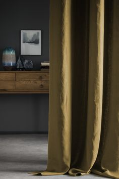 Bronze washed linen curtain with tone-on-tone contrasting bumblebee. Leaving natural light, these curtains help play the colors of your rooms. Linen Curtains, Blue Walls, Decoration, Natural Light, Ens, Room, Delaware, House, Moroccan