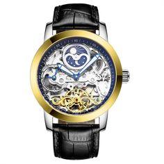 Luxury Clock Men Automatic Watch Skeleton LIGE