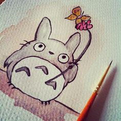 Watercolor Totoro. Does not drawing a mouth make everything cuter?
