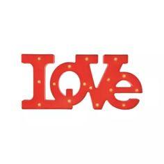 ACHEI no site das LOJASINCOR - Letreiro Love Vermelho/Led Mart 4477