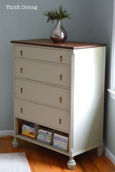 "Vintage dresser makeover with books in the bottom because the drawer would ""stick."" The ""BEFORE"" was really ugly, too!"