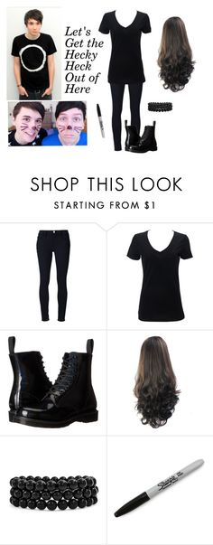 """""""danisnotonfire"""" by an-internet-girl ❤ liked on Polyvore featuring Frame, Simplex Apparel, Dr. Martens, Bling Jewelry, Sharpie, fandom and danisnotonfire"""