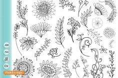 Boho WildFlower Line Art, Silhouette by FishScraps on Creative Market