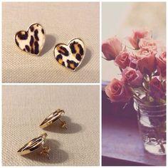 Heart leopard earrings Butterfly back - faux pony hair Accessories