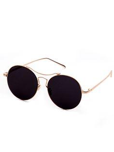 afddc8b5ac Gold Frame Double Bridge Black Lens Sunglasses