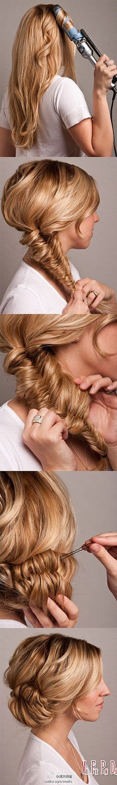 fish tail braid made easy with this great hair tutorial. Looks like you just need a curling iron and hair pins. My Hairstyle, Pretty Hairstyles, Wedding Hairstyles, Wedding Updo, Homecoming Hairstyles, Hairstyle Ideas, Bun Hairstyles, Country Hairstyles, Mermaid Hairstyles