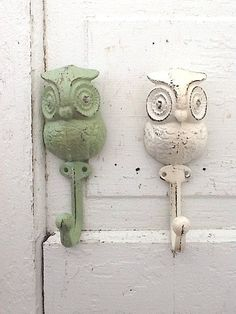 Cast Iron Owl Hook, Wall Decor, Farmhouse Style, Creamy White, Summer…