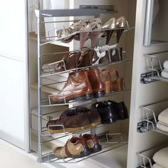 Pull-out shoe rack with its heavy gauge dia.) chrome plated removable racks and concealed full extension soft close runners, Available in 3 and options Powder coated metallic grey frame Heavy gauge chrome plated racks load bearing c Hanging Shoe Rack, Hanging Shoes, Hanging Closet, Hanging Rail, Shoe Racks, Airing Cupboard, Shoe Cupboard, Cupboard Storage, Shoe Storage