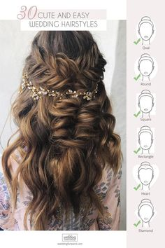 30 Cute And Easy Wedding Hairstyles ❤ We propose our collection of easy wedding hairstyles. Even your bridesmaid could create such a beautiful hairstyles, you just need some time to prepare. Simple Wedding Hairstyles, Short Wedding Hair, Trendy Hairstyles, Beautiful Hairstyles, Diy Wedding, Half Up Curly Hair, Curly Hair Styles, Hair Essentials, Wedding Hair Inspiration