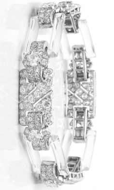 An Art Deco rock crystal, diamond and platinum bracelet, circa 1930.