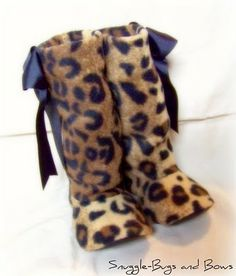 fleece boots--now I know what to do with that leopard looking stuff I just bought!!