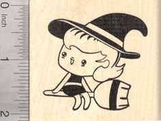 Halloween Witch Rubber Stamp, on Broomstick (J25815) $11 at RubberHedgehog.com