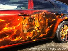 """2005 Dodge Magnum - """"Cats Roar"""" - Auctioned off with 50% of the proceeds going to Big Cat Rescue - Airbrushed by Mike Lavallee of Killer Paint - www.killerpaint.com"""