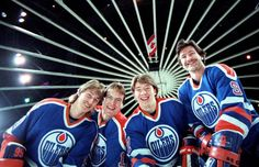 The Oilers young guns in 1983-Gretzky, Messier, Kurri, Anderson