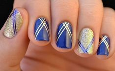 Two-colors nail art: blue and gold nails