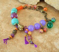 Boho Bracelet Junk Gypsy Colorful Beaded Bracelet by BohoStyleMe