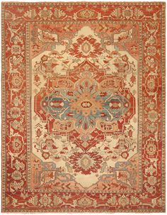 View this beautiful Antique Heriz Serapi Persian Rug 46247 from Nazmiyal's fine antique rugs and decorative carpet collection. Persian Carpet, Persian Rug, Asian Rugs, Persian Culture, Large Rugs, Tribal Rug, Floor Rugs, Rugs On Carpet, Deco